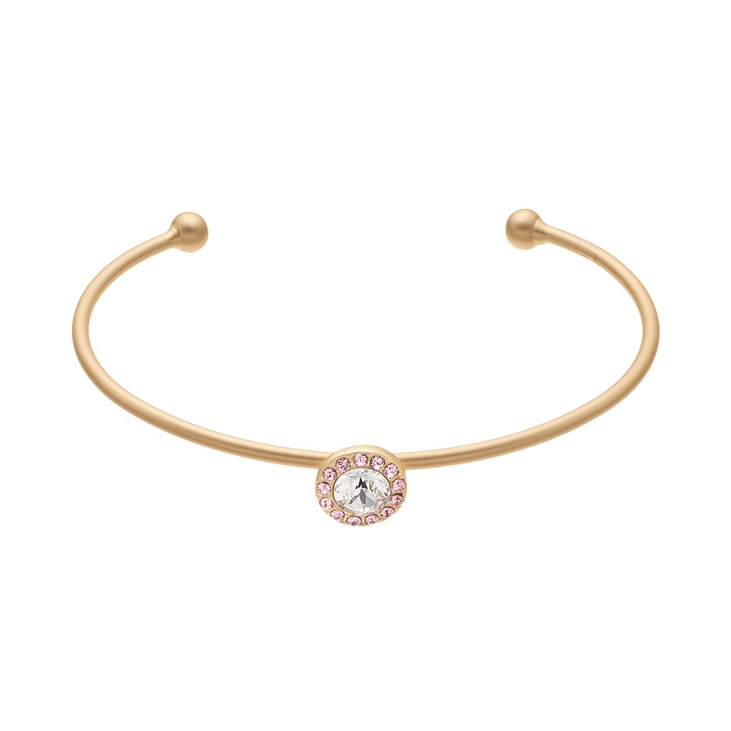 14k Gold Plated Crystal Halo Cuff Bracelet