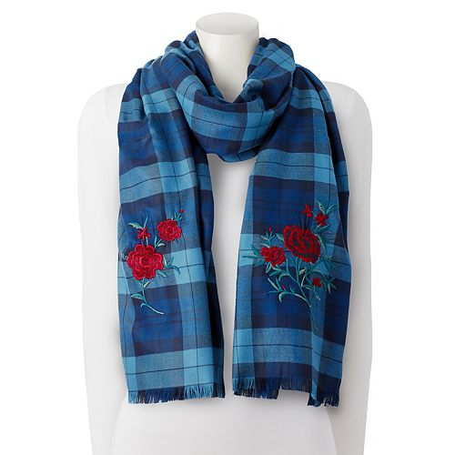 Chaps Embroidered Rose Plaid Wrap Scarf