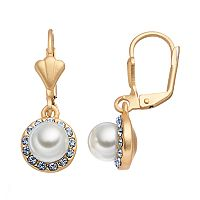 14k Gold Plated Simulated Pearl & Crystal Halo Drop Earrings
