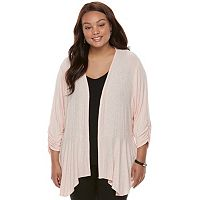 Juniors' Plus Size Candies® Draped Peplum Cardigan