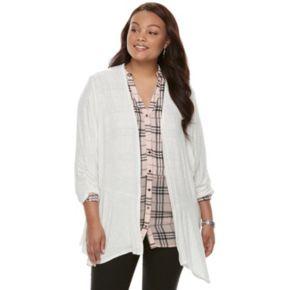 Juniors' Plus Size Candies® Draped Peplum Cardigan