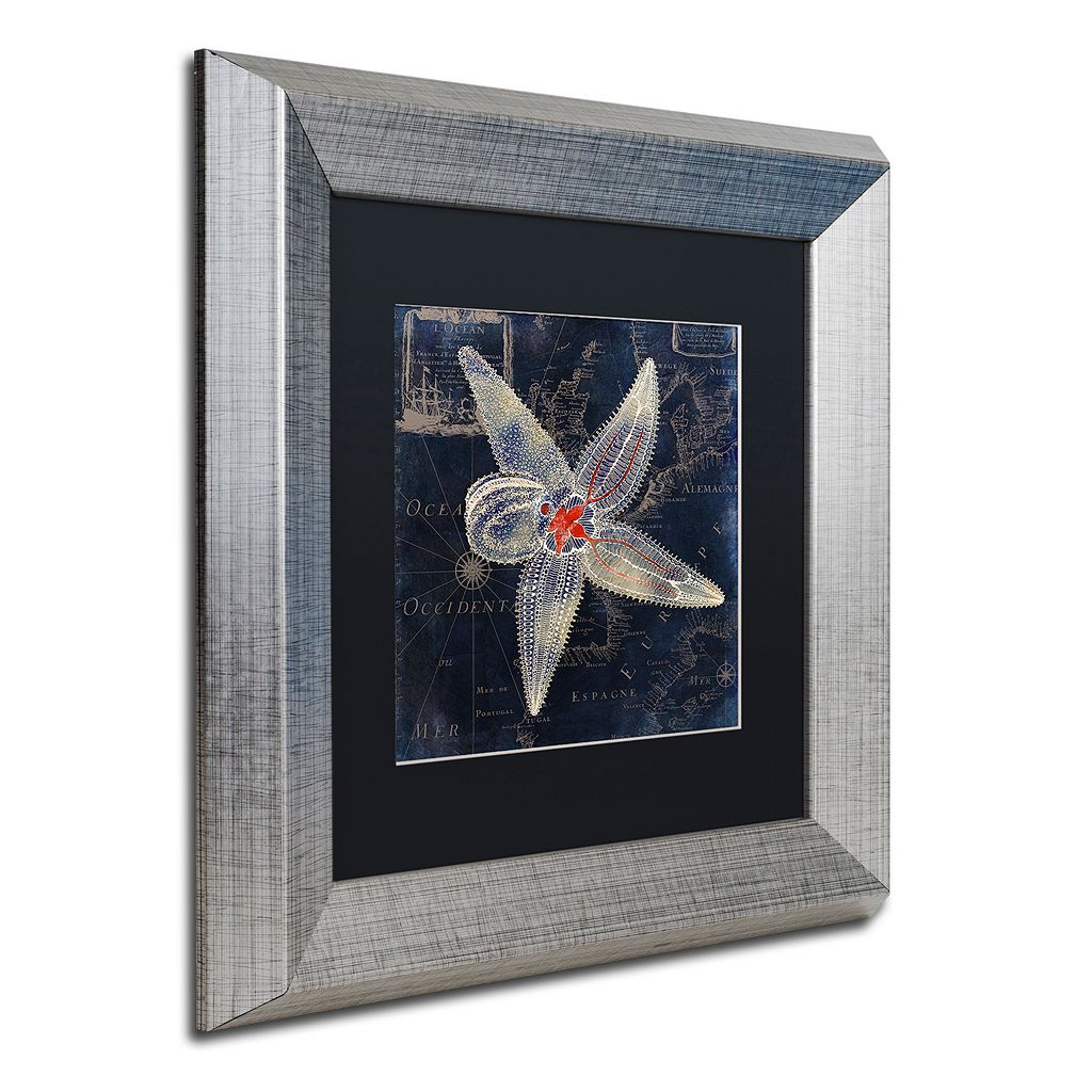 Trademark Fine Art Maritime Blues IV Silver Finish Framed Wall Art