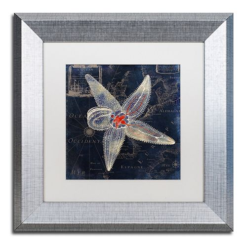Trademark Fine Art Maritime Blues IV Silver Finish Framed Wall Art