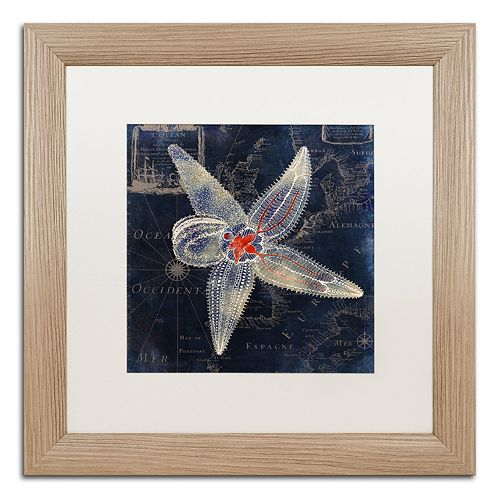 Trademark Fine Art Maritime Blues IV Washed Finish Framed Wall Art