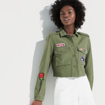 k/lab Patch Cropped Military Jacket