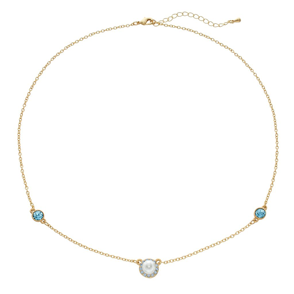 14k Gold Plated Simulated Pearl & Crystal Halo Station Necklace