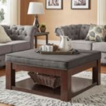 HomeVance Upholstered Storage Coffee Table