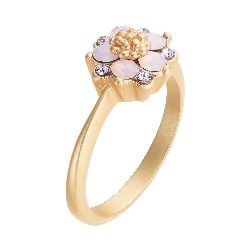 14k Gold Plated Purple & Pink Crystal Flower Ring