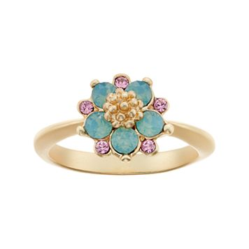 14k Gold Plated Green & Pink Crystal Flower Ring