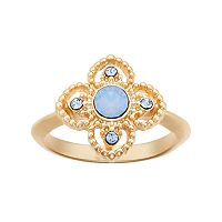 14k Gold Plated Blue Crystal Flower Ring