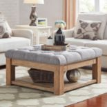 HomeVance Button Tufted Storage Coffee Table