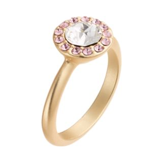 14k Gold Plated Crystal Halo Ring