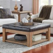 HomeVance Tufted Upholstered Storage Coffee Table