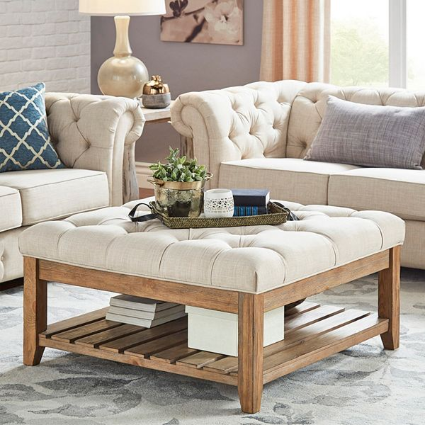 Homevance Tufted Upholstered Coffee Table Ottomans - Are Ottoman Coffee Tables Still In Style