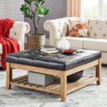 HomeVance Contemporary Tufted Upholstered Coffee Table
