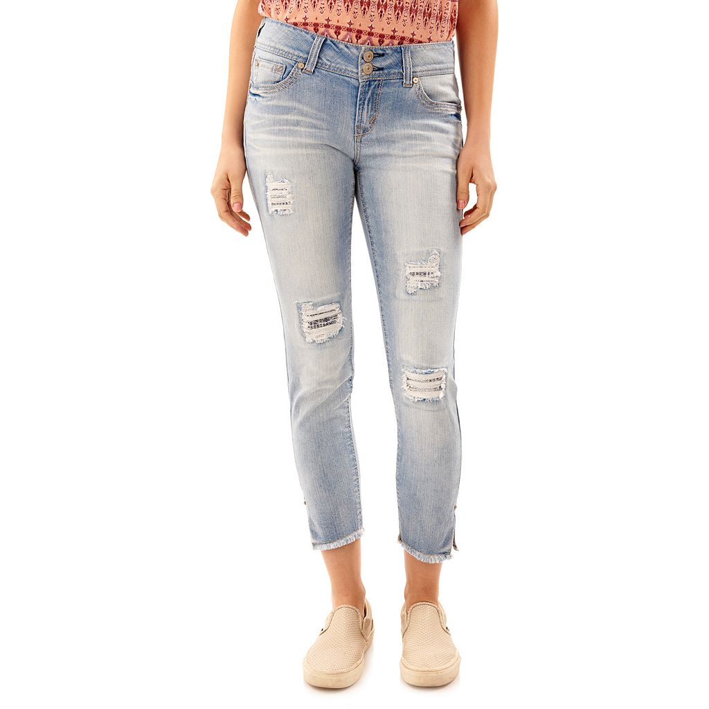 Juniors' Wallflower Ripped Ankle Skinny Jeans