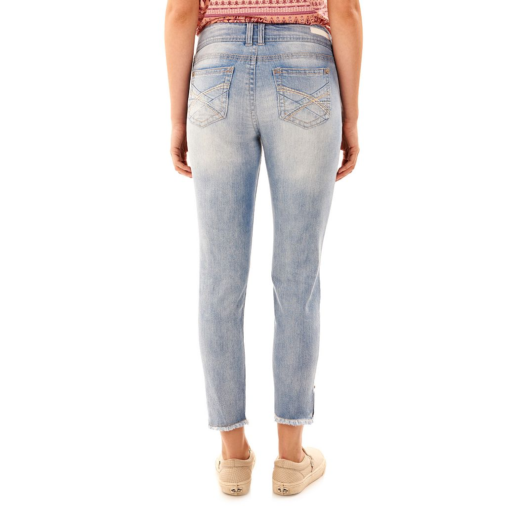 Juniors' Wallflower Ripped Ankle Skinny Jeans