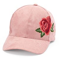 Women's David & Young Suede Embroidered Rose Baseball Cap