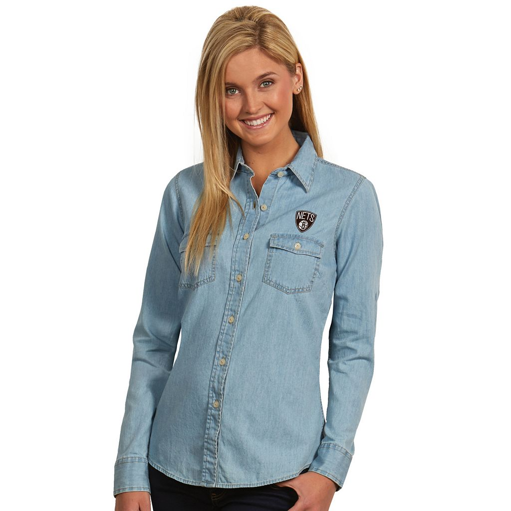 Women's Antigua Brooklyn Nets Chambray Shirt
