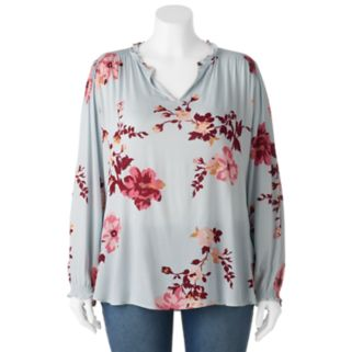 Juniors' Plus Size About A Girl Woven Floral Long Sleeve Top