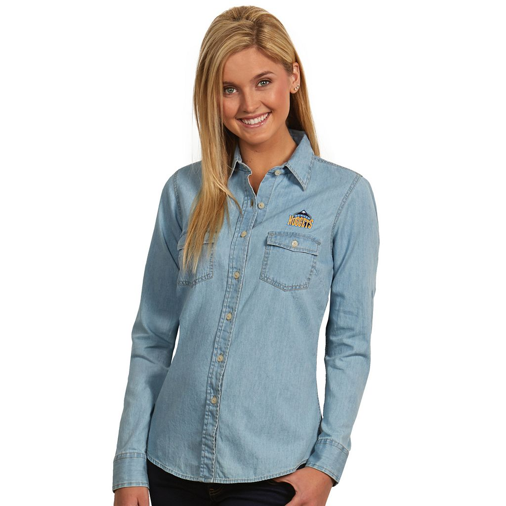 Women's Antigua Denver Nuggets Chambray Shirt