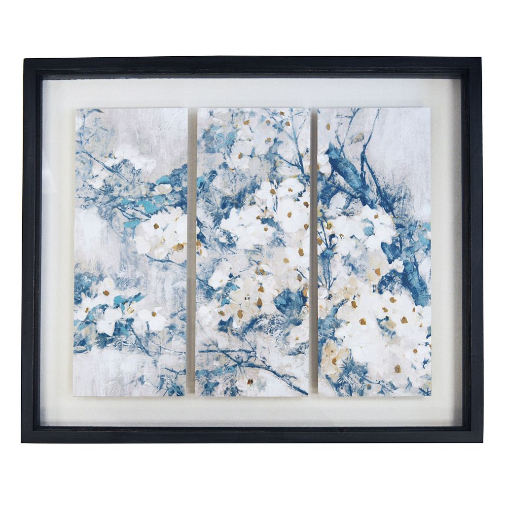 New View Farmhouse White Blossoms Shadowbox Framed Wall Art
