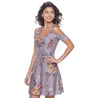 Juniors' Love, Fire Tie Cold Shoulder Skater Dress