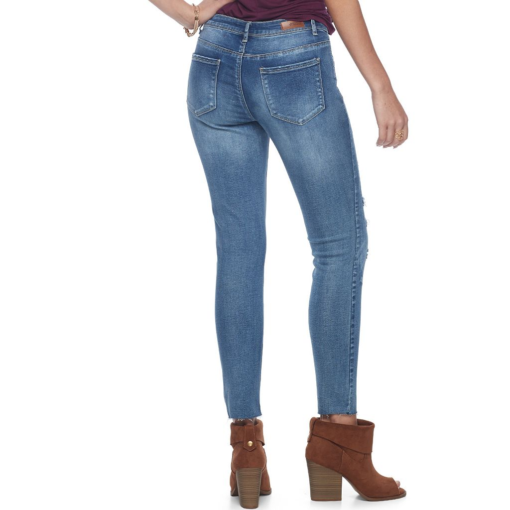 Juniors' Almost Famous Frayed Hem Ripped Skinny Jeans