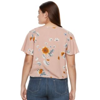Juniors' Plus Size Mudd® Print Tie-Front Top