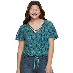 Juniors' Plus Size Mudd® Print Tie-Front Top
