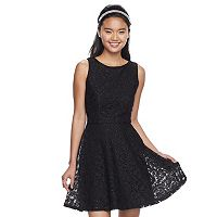 Juniors' Speechless Open-Back Lace Skater Dress