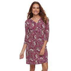 Petite Croft & Barrow® Printed Pullover Dress