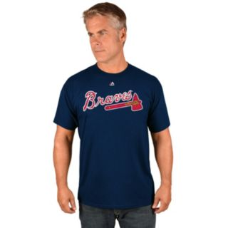 Men's Majestic Atlanta Braves Dansby Swanson Name and Number Tee