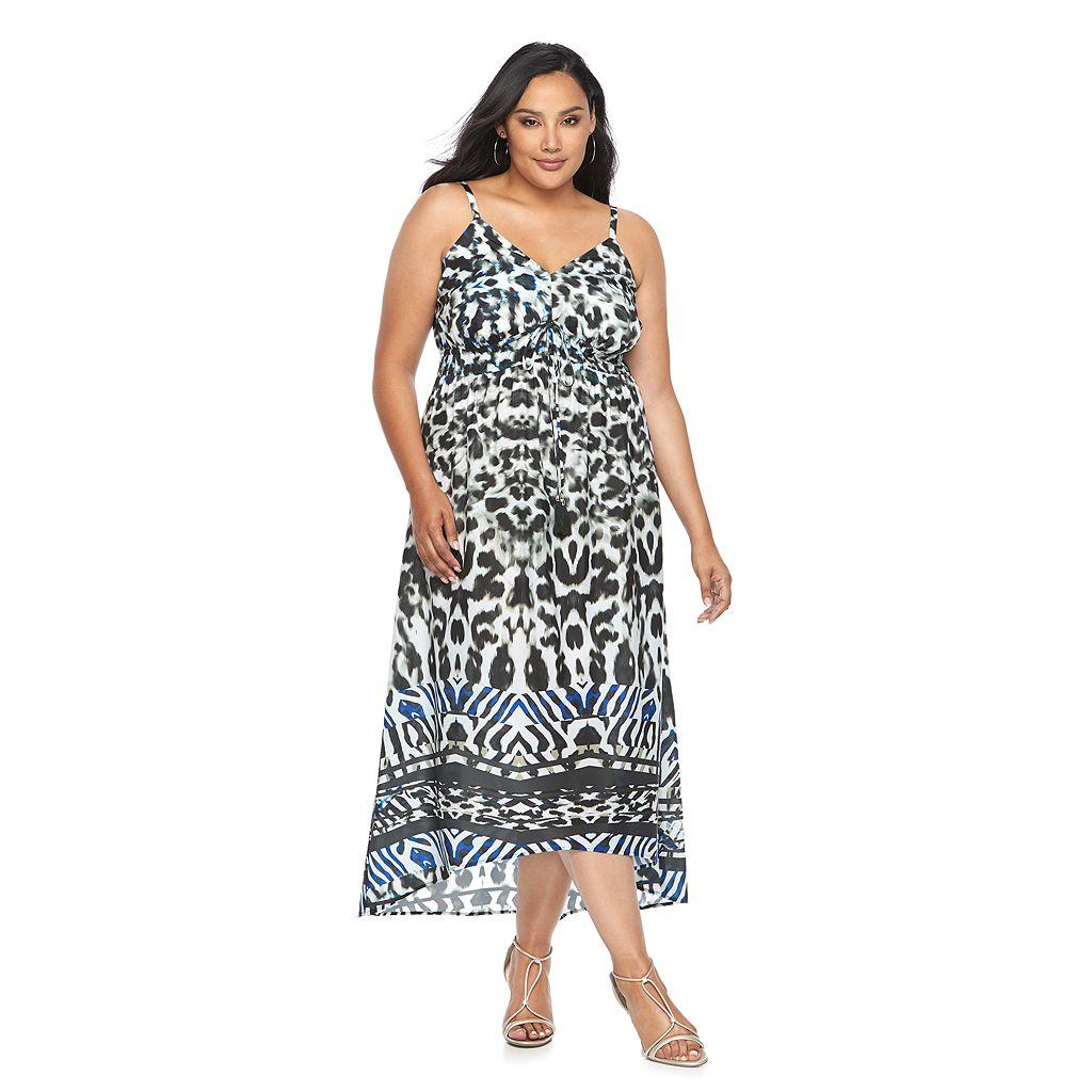 Plus Size Jennifer Lopez Printed Empire Maxi Dress