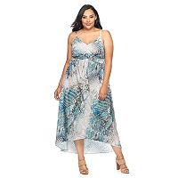 Plus Size Jennifer Lopez Printed Empire Maxi Dress