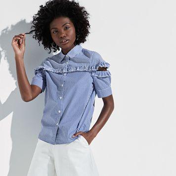 k/lab Mixed Print Split Sleeve Shirt
