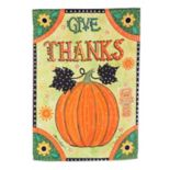 "Evergreen ""Give Thanks"" Pumpkin Indoor / Outdoor Garden Flag"