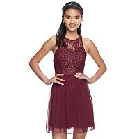 Juniors' Speechless Sparkly Lace Halter Skater Dress