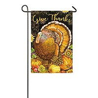 Evergreen Thanksgiving Turkey Indoor / Outdoor Garden Flag