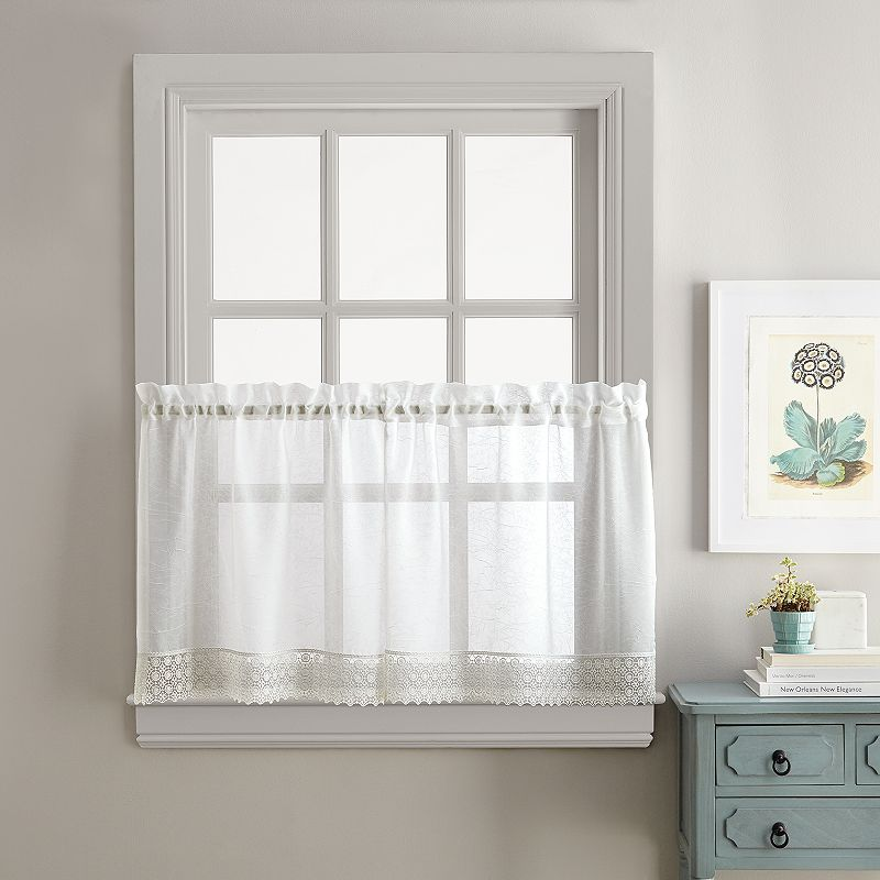 Sweet Adele Tier Curtain Pair, White, 56X36