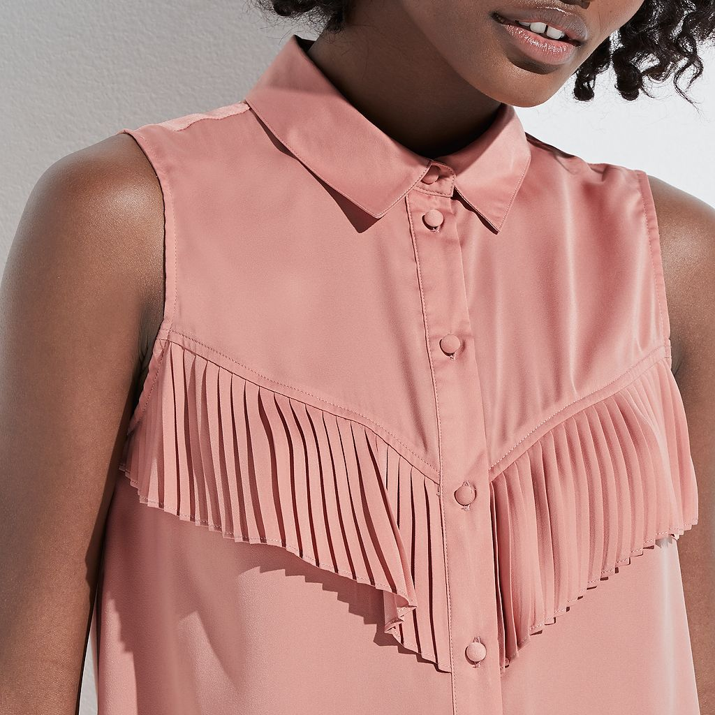 k/lab Pleated Front Sleeveless Blouse