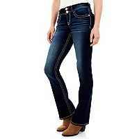 Juniors' Wallflower Curvy Contrast Stitch Bootcut Jeans