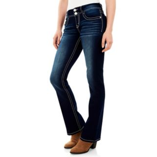 Juniors' Wallflower Curvy Contrast Stitch Bootcut Jeans
