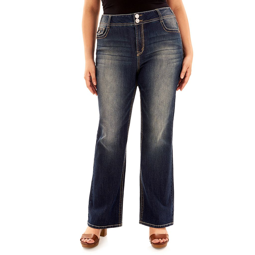 Juniors' Wallflower Curvy Faded Bootcut Jeans