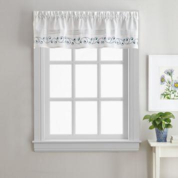 Key Largo Embroidered Kitchen Window Valance