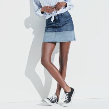 k/lab Two Tone Denim Mini Skirt
