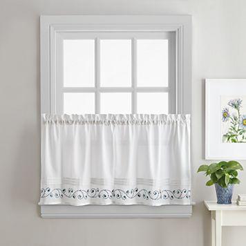 Key Largo Embroidered Kitchen Tier Curtain Pair
