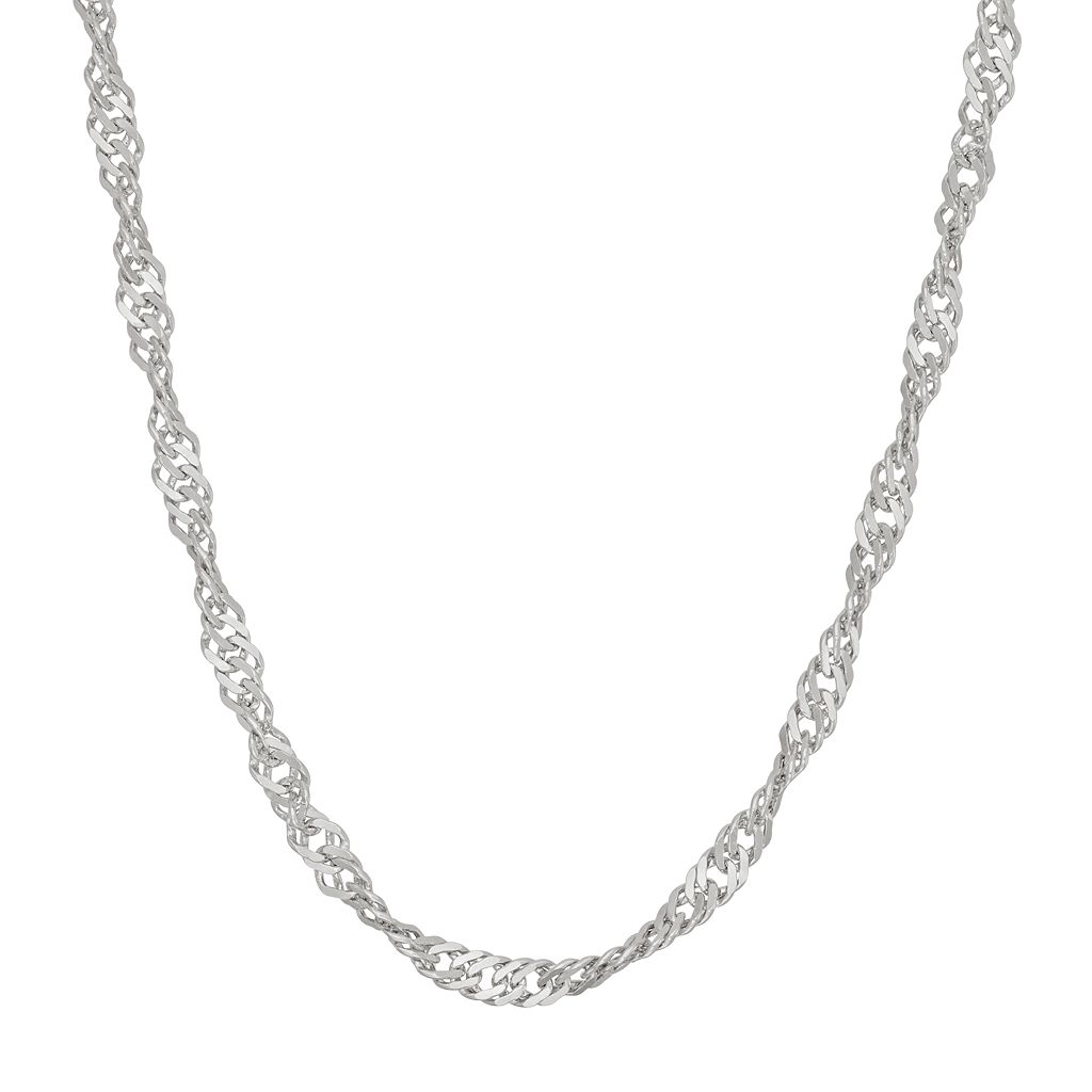 Sterling Silver Disco Chain Necklace - 24 in.