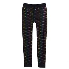Girls 4-16 Rainbow Foil Hearts Fleece-Lined Seamless Leggings