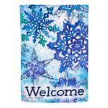 """Evergreen """"Welcome"""" Snowflakes Indoor / Outdoor Garden Flag"""